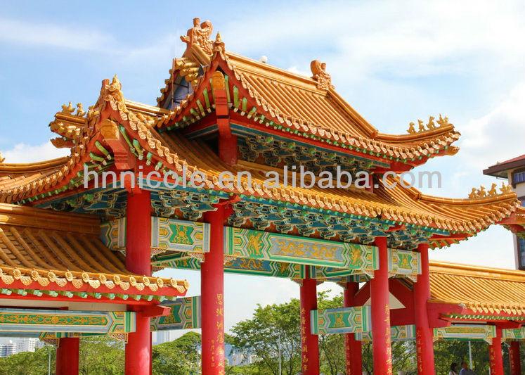 Traditional glazed tiles chinese restaurant decoration