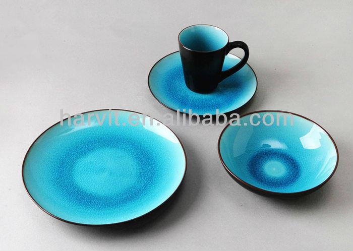 Truquoise Green Roscher Blue Crackle Glass Tableware 16pc & Blue Stoneware Dinnerware Sets - Castrophotos