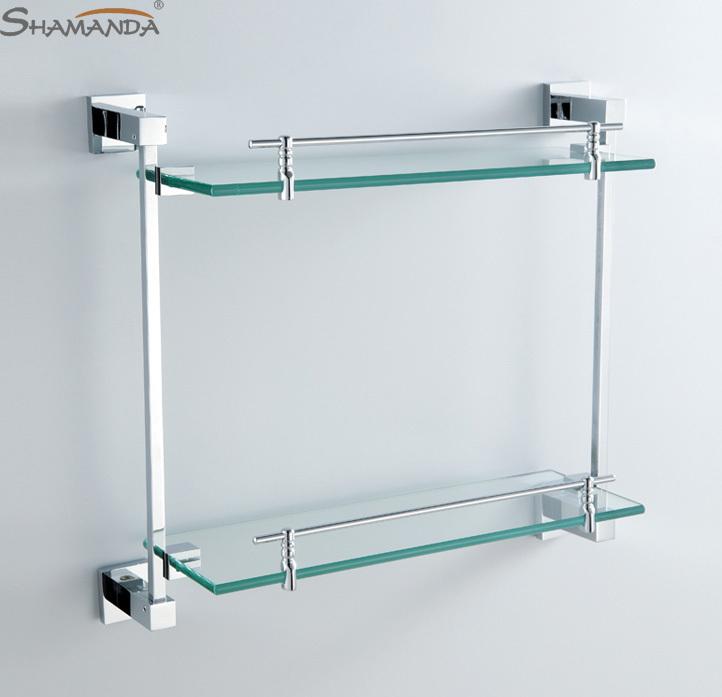 2019 double bathroom shelf glass shelf brass made with - Bathroom accessories glass shelf ...