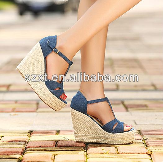 New Designs Women Wedge Heels Sandals Fashion Ladies Denim Wedges ...