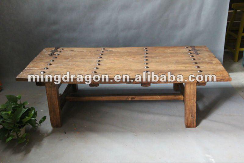 Chino antiguo reciclar muebles olmo mesa de caf de hierro for Mesas de puertas antiguas