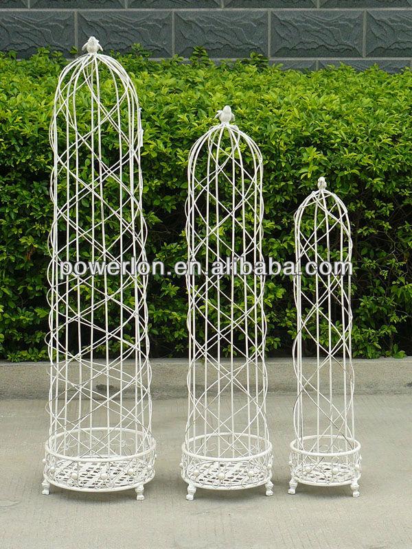 Outdoor Decorative Powder Coating Antique White Metal Garden Obelisk