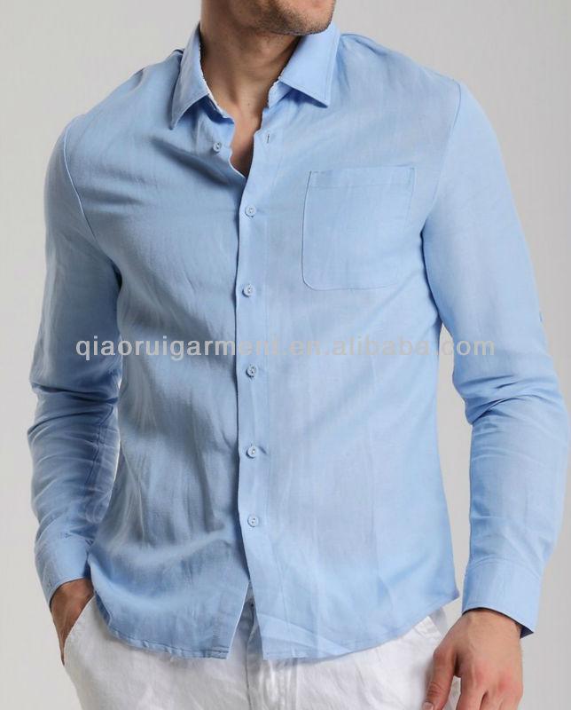 ced19fd980a6 Men s Slim Fit Patched Inside Collar And Yoke Linen Dress Shirt ...