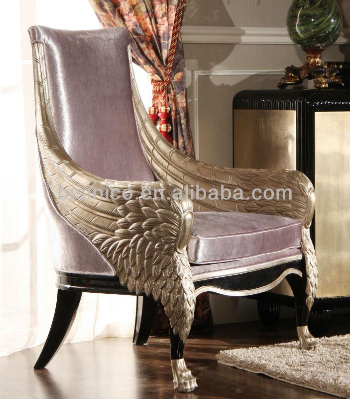 Luxury Throne Wing Chair Solid Wood Italian Throne Chair