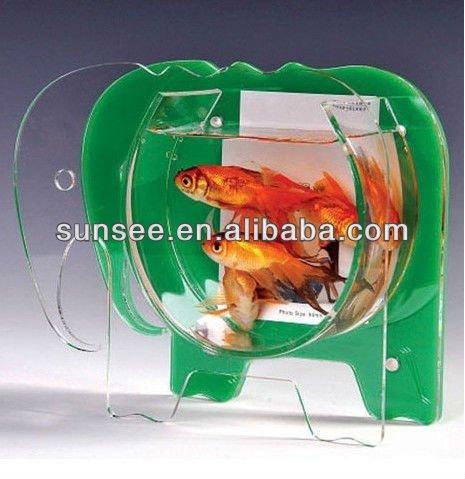 Elephant Shaped Acrylic Fish Bowl Tabletop Animal With Photo Frame Ft