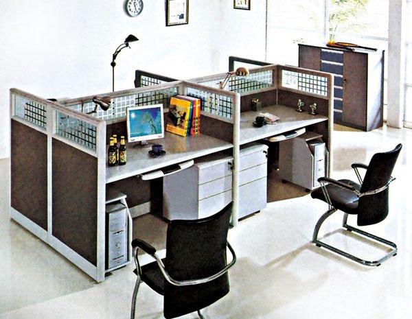 Flyfashion modern office 4 seat staff workstation for Cubiculos de oficina