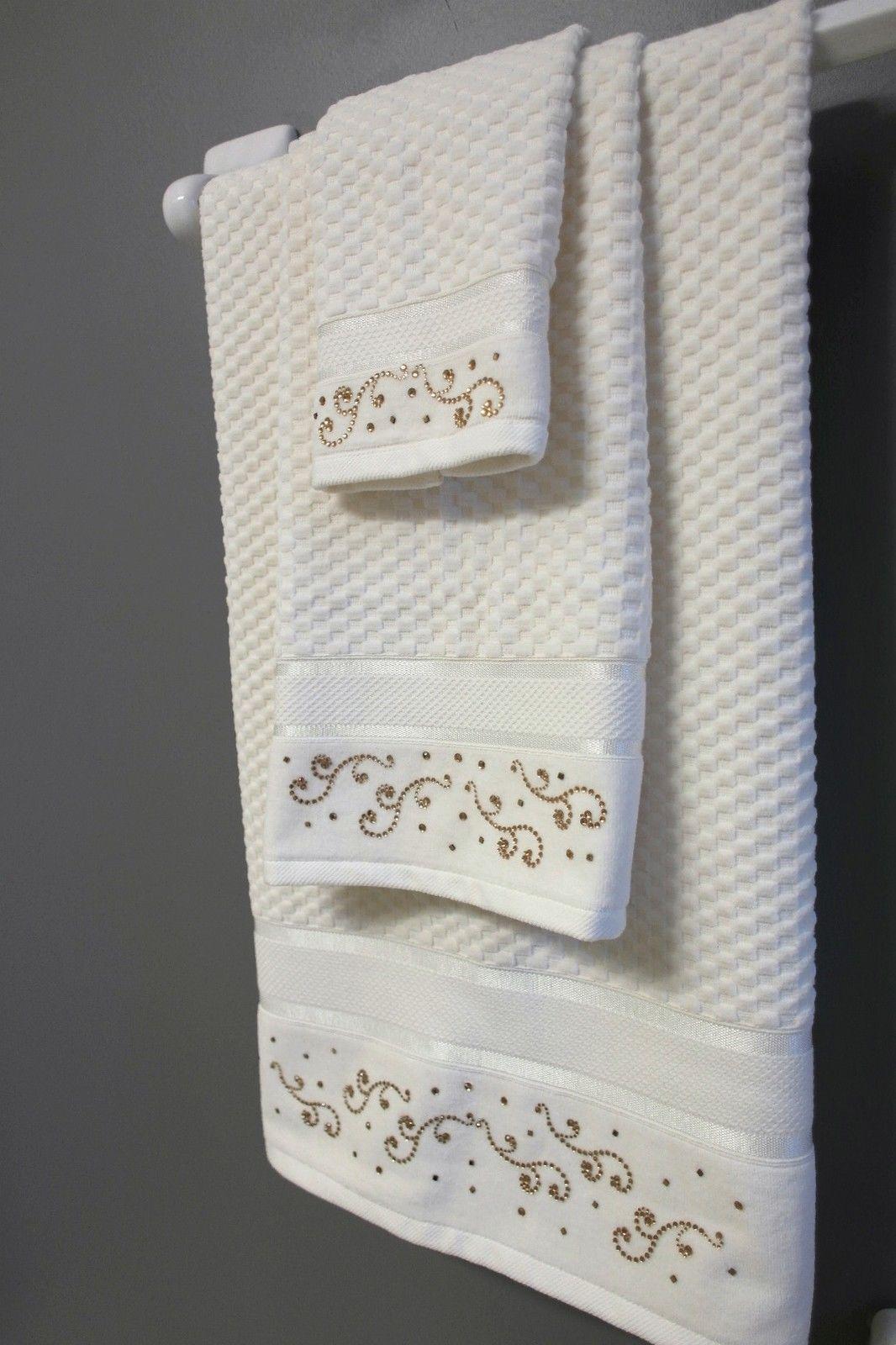 Pure Cotton New Luxury Decorative Ivory Velour Bath Towel Towel Set