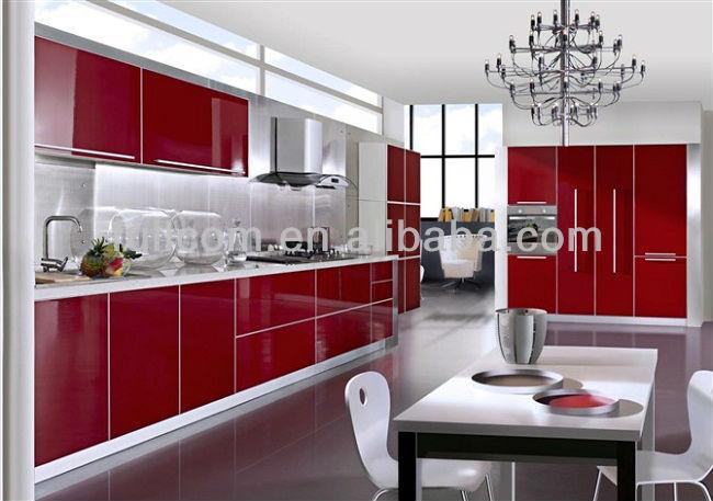 Red high gloss mdf kitchen cabinet door buy pvc kitchen for Red high gloss kitchen doors