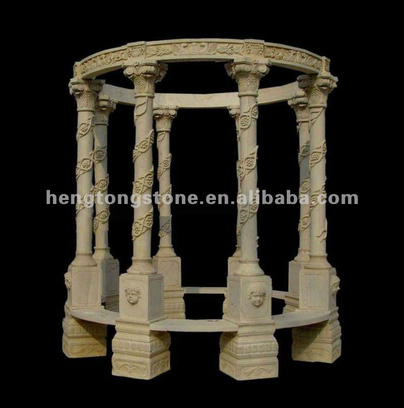 White Marble Garden Column Gazebo With Wrought Iron Dome