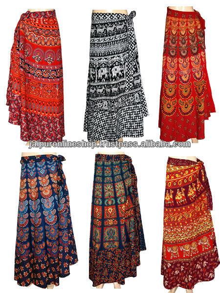 Party Dress Antique Indian Art Wrap Cotton Long Skirt - Buy Cotton ...