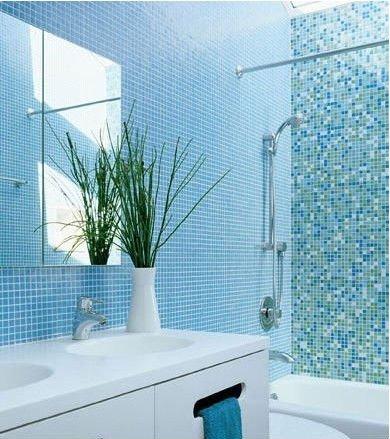 Frais Bleu De Mélange Blanc Salle De Bain/piscine Mosaïque De ...