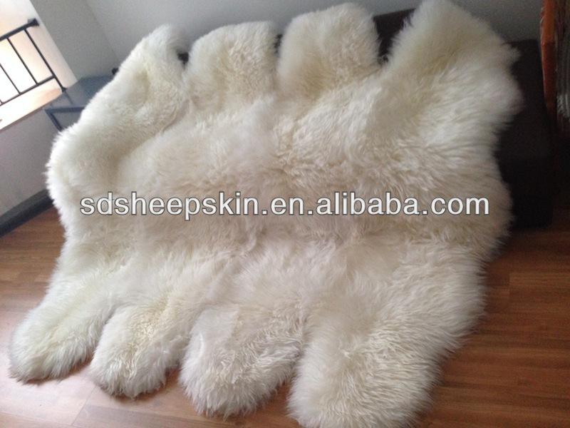 Thick Hick Shaggy Ivory White Sheepskin Rugs 5u0027 X 6u0027