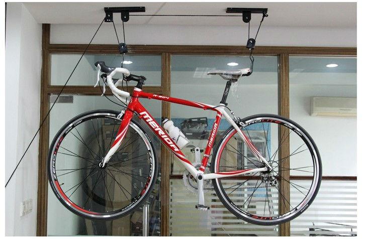 high-quality PP rope and plastic pulley ceiling bike lift bike hanging lift bike storage & High-quality Pp Rope And Plastic Pulley Ceiling Bike Lift Bike ...