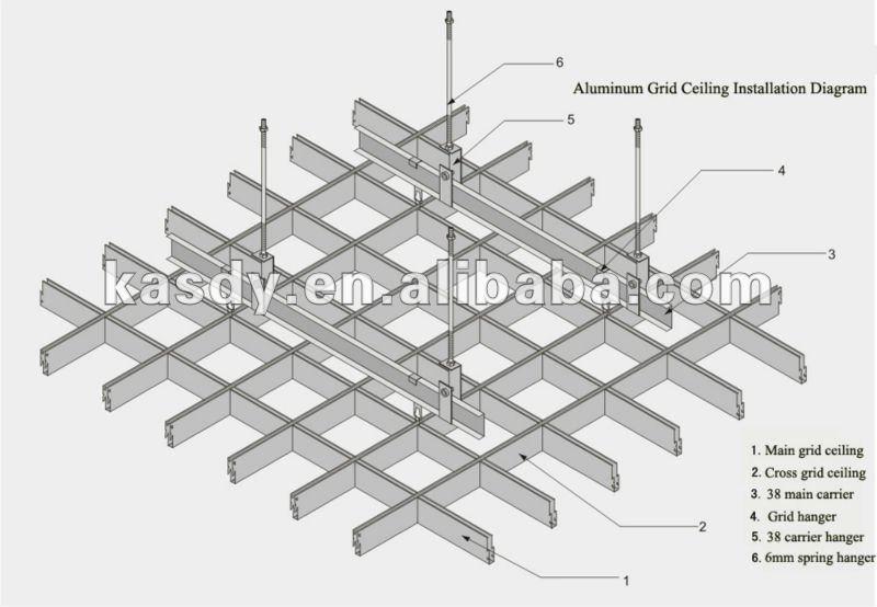 Internet Cafe Grid Ceiling System Suspended Ceiling Gird