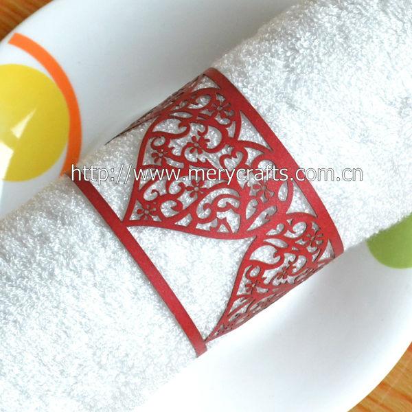 Arabic Black Paper Wedding Napkin RingsLaser Cut Napkin Ring