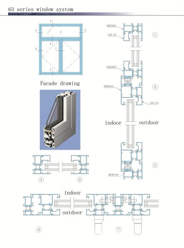 Double Glazed Thermal Break Aluminium Window Section
