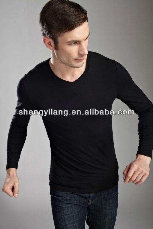 Plain Slim Fit Black Color Bamboo Long Sleeves Men T Shirt / Thin ...