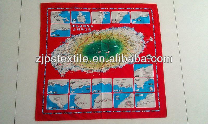 Custom design map printing cotton handkerchief Tourism handkerchief gift packing big handkerchief