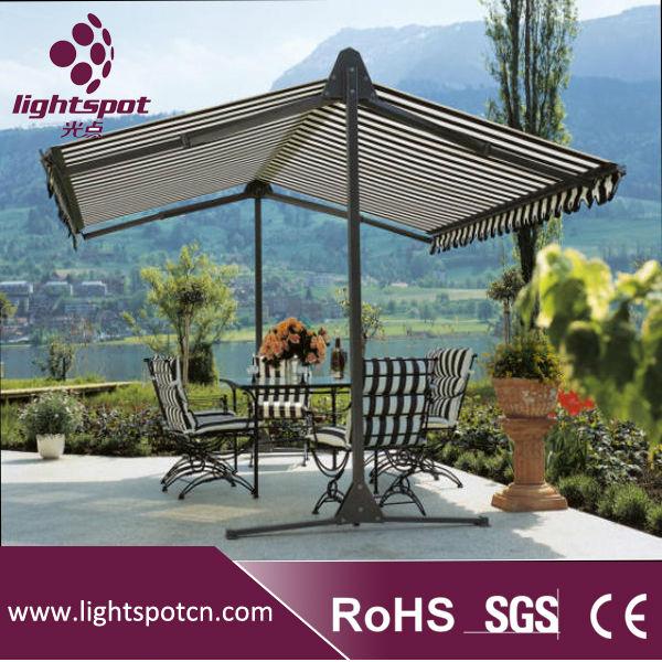 Al aire libre doble canopy paraguas independiente toldo for Poleas dobles para toldos