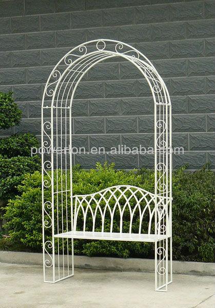 Shabby Chic Antirust Antique White Metal Garden Arch Bench