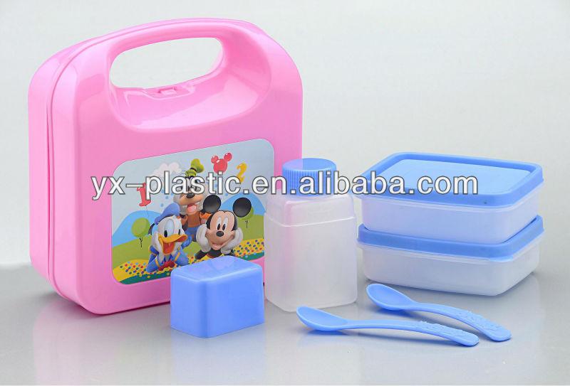 plastic portable lunch box set w square bento box and. Black Bedroom Furniture Sets. Home Design Ideas