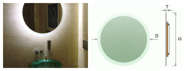 Mobili a specchio specchio rotondo con striscia di led - Specchio con lampade intorno ...