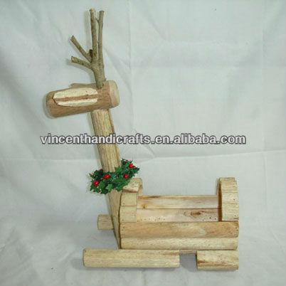 navidad reno forma plantador de madera para decoración de jardín