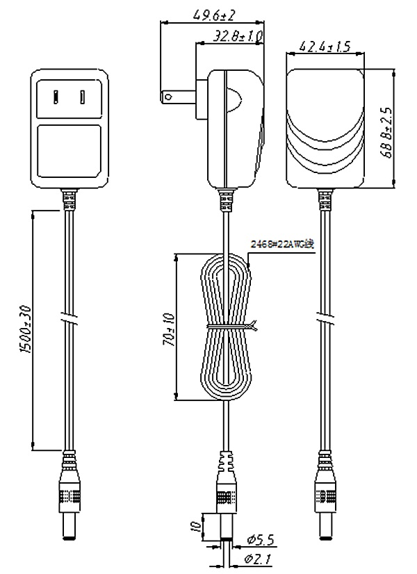 The Power Supply Pse Japan 2 Pin Plug Dc 10v 800ma Power