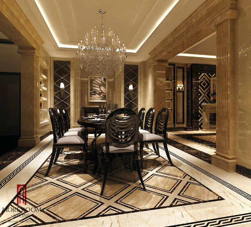 Italy Beige Marble Cupertino Marble Tiles Floor Medalions