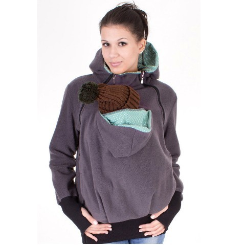 Sweet Mommy Longline Zipped Maternity Hoodie With Baby