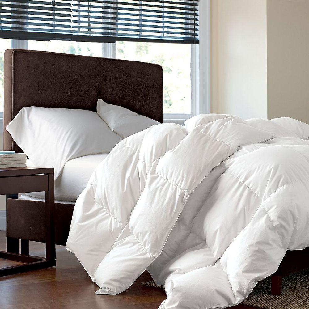 new 100 white goose down bedding winter soft comforter 108x94inch 100 cotton ebay. Black Bedroom Furniture Sets. Home Design Ideas