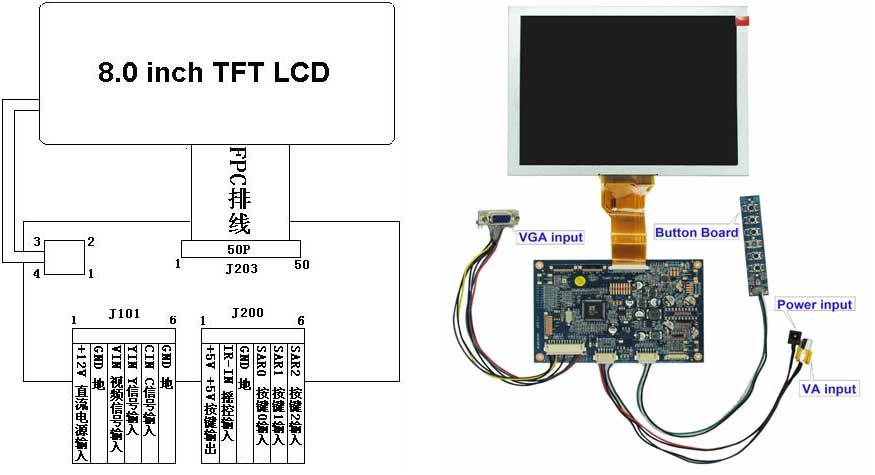"monitor wiring diagram 8 inch lcd display,8"" tft lcd display gd102m03-gtiej080na ... #10"