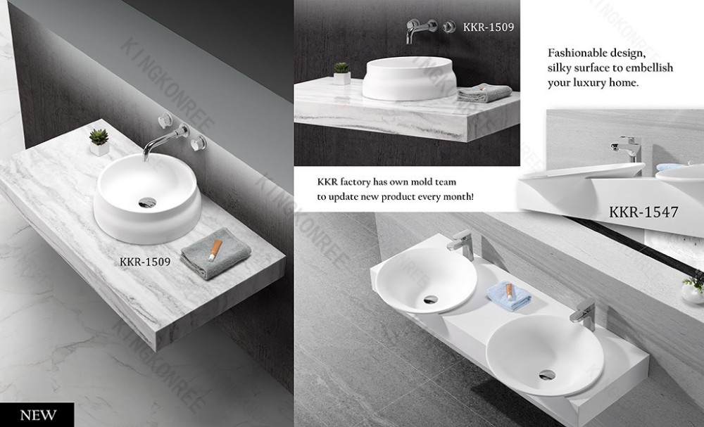 Acrylic Solid Surface Bathroom Sinks With Cabinet