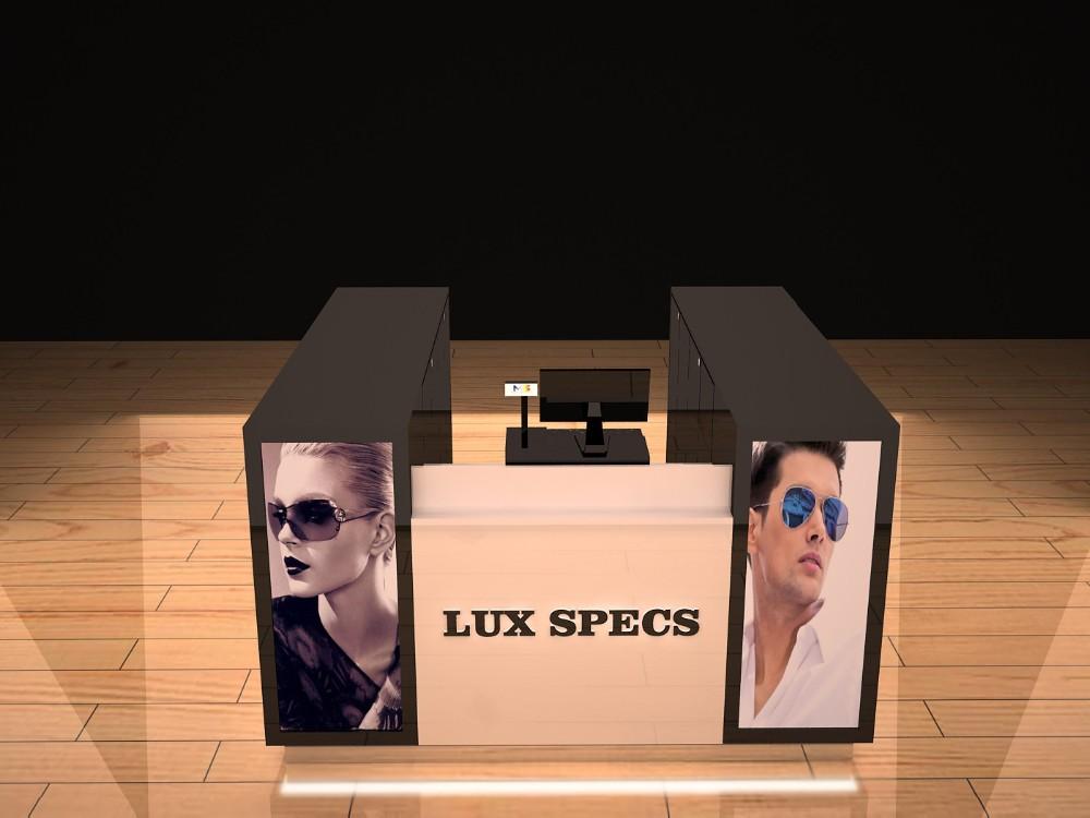 optical shop interior design wooden sunglasses kiosk