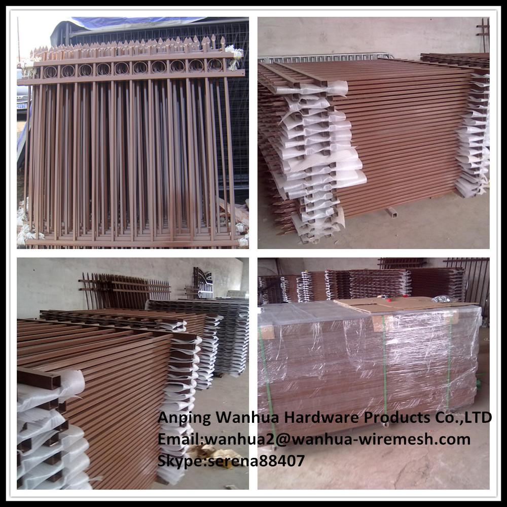 Black Powder Coated Ornamental Steel No Dig Fence Panels
