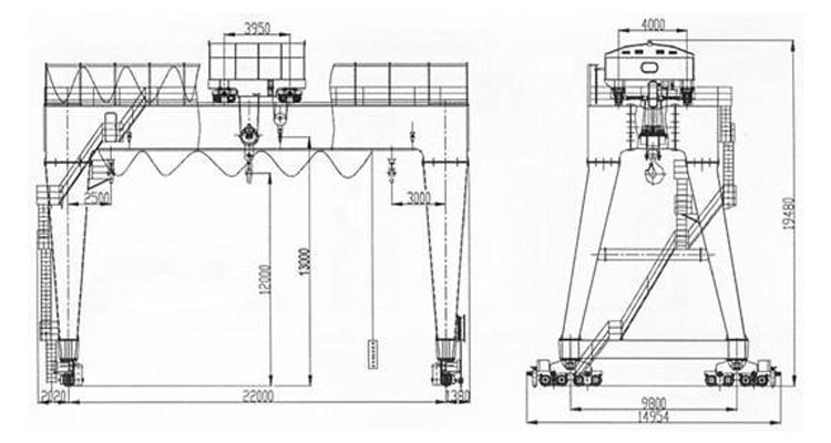 china profesional manufacturer of double girder hoist mobile crane diagram
