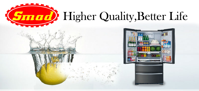 side by side refrigerator / glass door refrigerator freezer