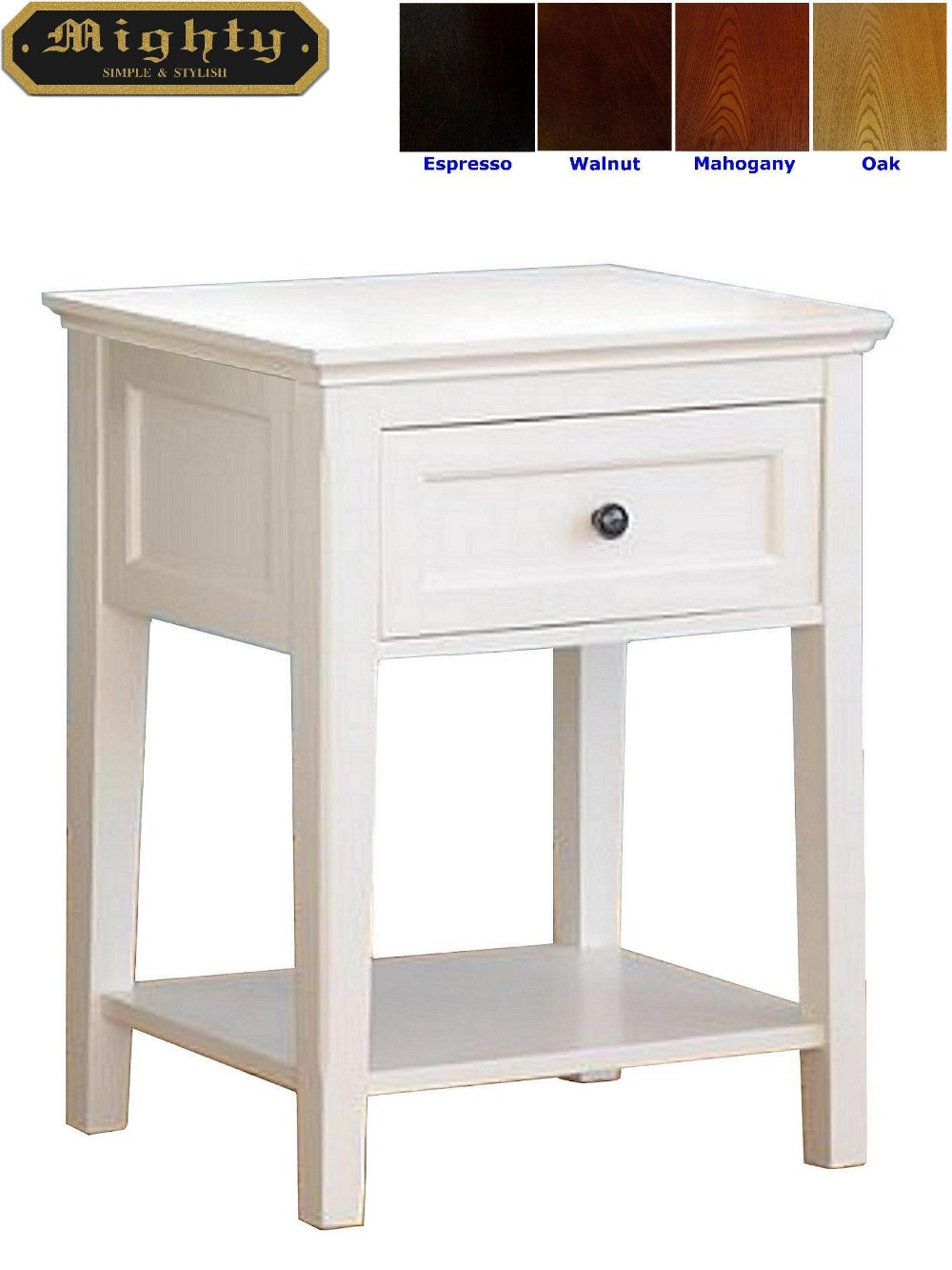 Wooden Modern Small White Side Occasional Table With