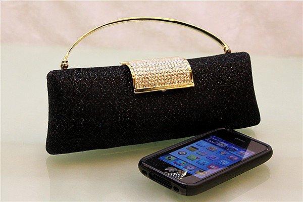 Black Shiny Crystal Party Bag Handcraft Dress Clutch Purse Bride Wedding Handbag Evening Bags Money Purse1pcs Free Shipping